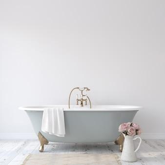 Романтическая ванная комната. макет интерьера. 3d рендеринг.