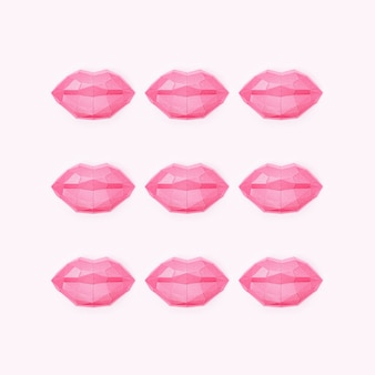 Романтическая концепция с блеском красоты полигональных бумажных губ креативный поцелуй всемирный день поцелуев