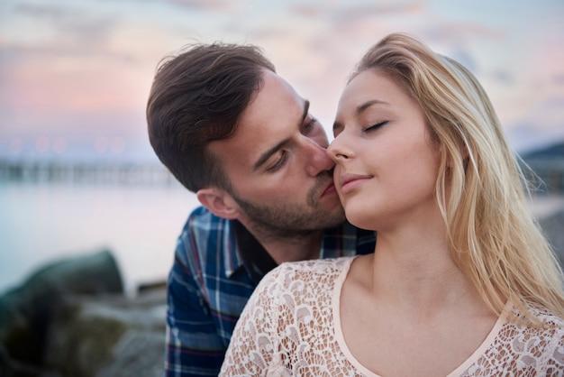 Romance moments of loving couple
