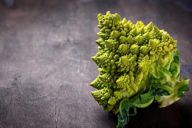 Romanesco broccoli on dark background