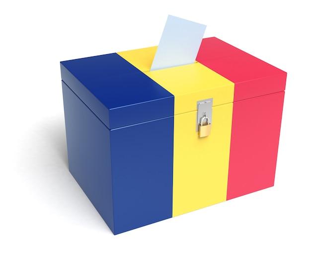 ルーマニアの旗が付いているルーマニアの投票箱。白い背景で隔離。