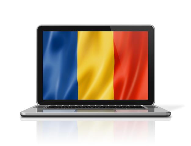 노트북 화면 흰색 절연에 루마니아 플래그입니다. 3d 그림 렌더링합니다.