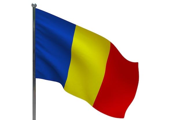 기둥에 루마니아 플래그입니다. 금속 깃대. 화이트에 루마니아 3d 그림의 국기