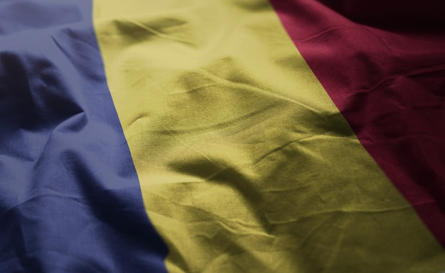 Romania flag rumpled close up