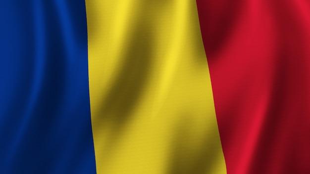 패브릭 질감으로 고품질 이미지로 근접 촬영 3d 렌더링을 흔들며 루마니아 국기