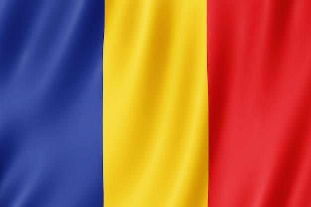 바람에 물결치는 루마니아 국기.