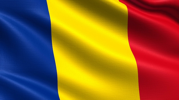 Romania flag, with waving fabric texture