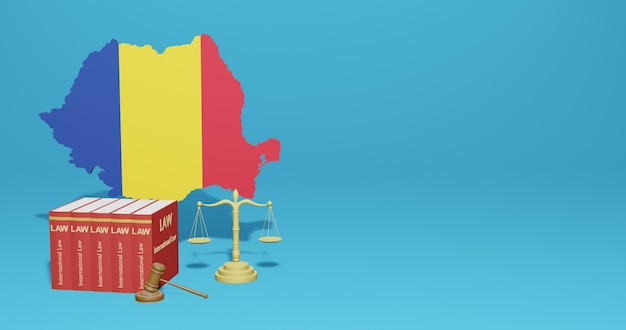 Romania law for infographics, social media content in 3d rendering
