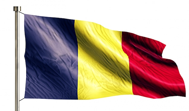 Romania national flag isolated 3d white background