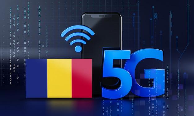 루마니아 5g 연결 개념 준비. 3d 렌더링 스마트 폰 기술 배경