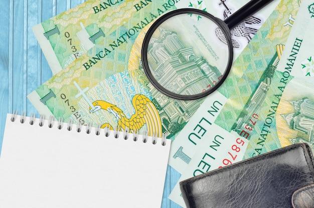 Банкноты румынского лея и увеличительное стекло с черным кошельком