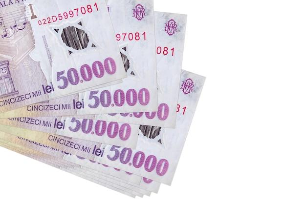 ルーマニアレウの請求書は、白で隔離された小さな束またはパックにあります