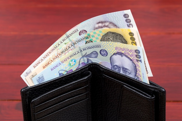 黒い財布の中のルーマニアのお金のロイ