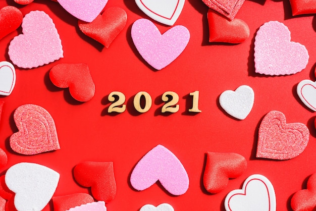 Romantic background for valentine with red hearts for lovers