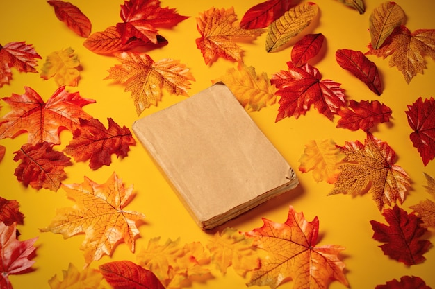 Romantic book with autumn leaves on yellow background. top view