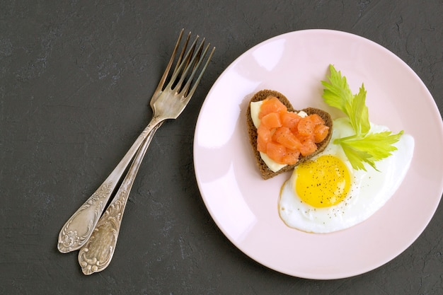 Romantic breakfast for valentine's day.