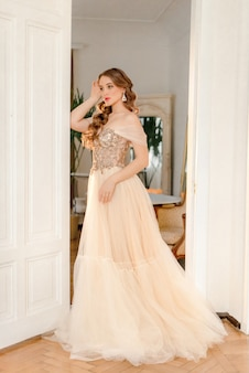 Romantic bride in interior