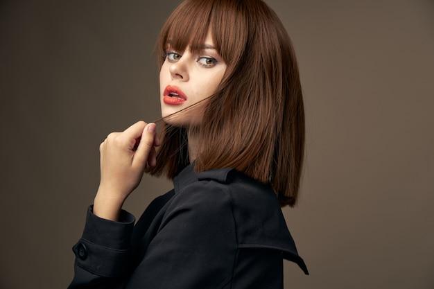 Romantic brunette european appearance stylish clothes close-up