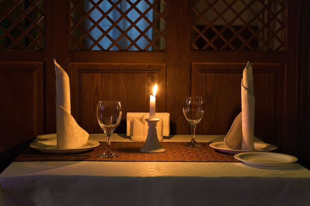 Romantic candle light dinner in a restaurant