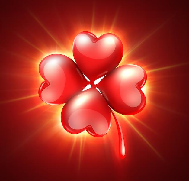 하트 모양의 꽃잎과 함께 빛나는 클로버와 함께 로맨틱 카드