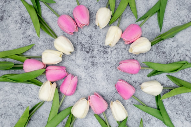Romantic composition made with white and pink tulips