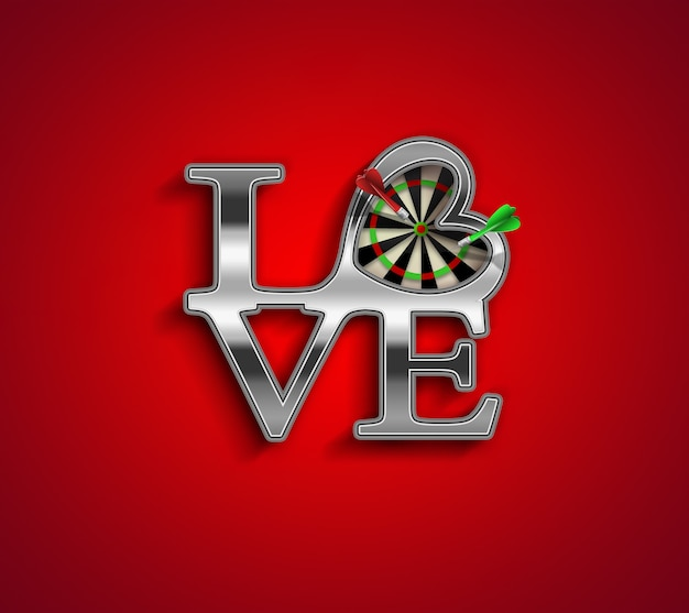 Романтическая концепция фон с любовными письмами и дротиками внутри сердца