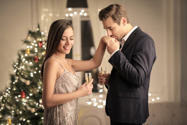 Romantic couple celebrating christmas