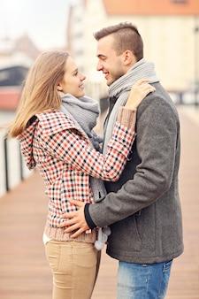 Romantic couple in the city