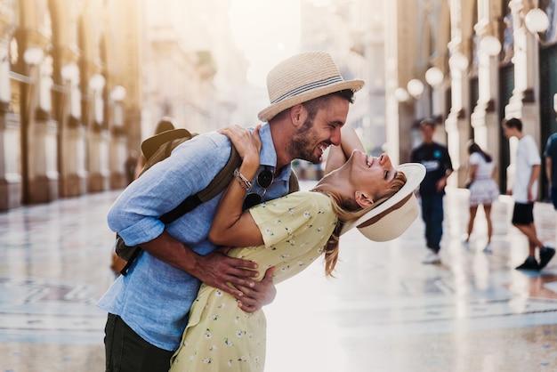 Romantic couple in love having fun in the city