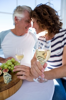 Romantic couple with champagne glasses