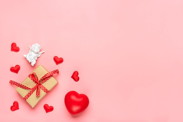Romantic decoration on pink background top view flat lay happy valentine's day