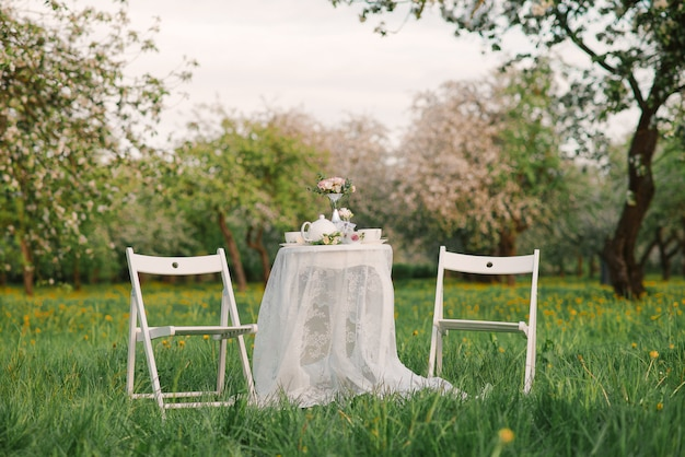 Romantic dinner in the blossoming apple orchard. two white chairs and a table with a lace tablecloth for two persons