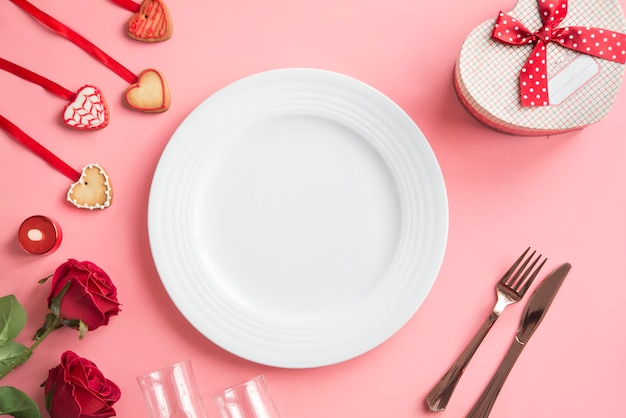 Romantic dinner - table setting for valentine day