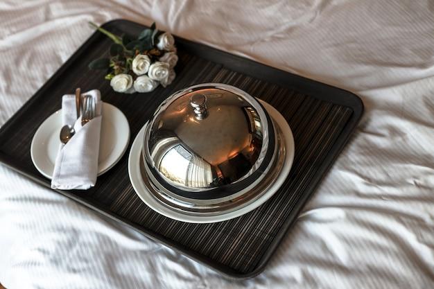 Romantic dish set on the bed