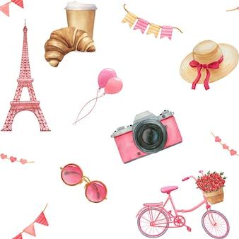 Романтический праздничный рисованный акварель бесшовные модели. концепция любви, путешествий и празднования