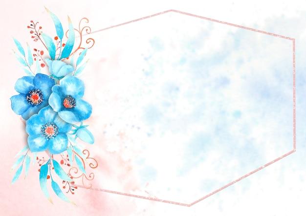 青いヘレボルスの花、つぼみ、葉、水彩画の背景に装飾的な小枝とロマンチックなフレーム。水彩イラスト、手作り。