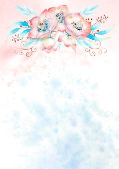 ピンクのヘレボルスの花、つぼみ、葉、水彩画の背景に装飾的な小枝とロマンチックなフレーム。水彩イラスト、手作り。