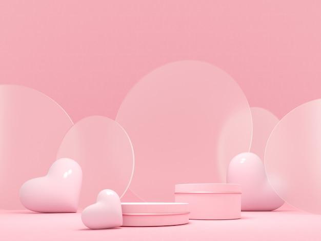 Романтическая открытка с розовыми сердечками и подиумом на день святого валентина