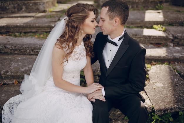 Romantic groom watching his girlfriend's face