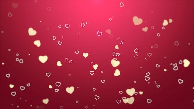 빨간색 배경에 낭만적인 마음입니다. 해피 발렌타인 데이 휴일 인사말입니다. 고급스럽고 우아한 스타일의 3d 일러스트