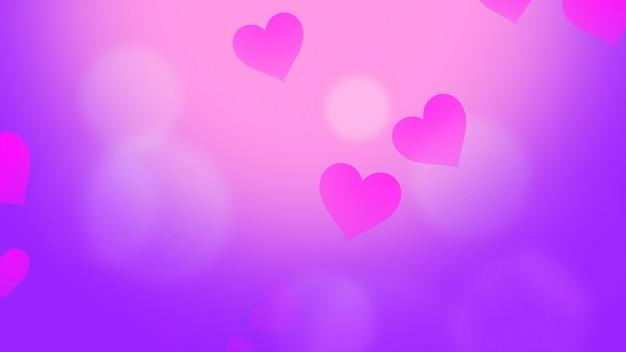 빛나는 배경에 낭만적인 마음입니다. 해피 발렌타인 데이 휴일 인사말입니다. 고급스럽고 우아한 스타일의 3d 일러스트