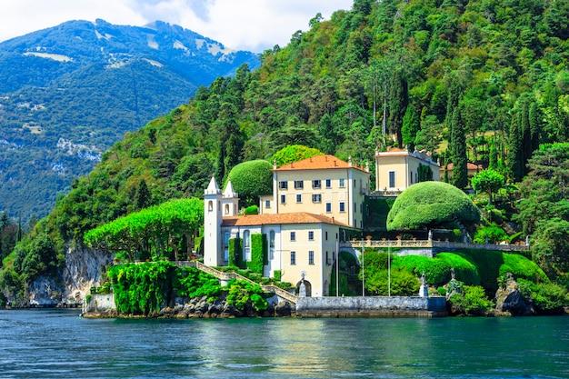 Романтическое озеро лаго ди комо, вилла дель бальбинелло. популярное туристическое направление
