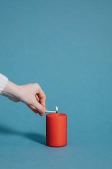 Romantic lit candle