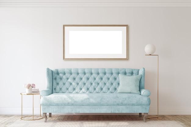 Романтическая гостиная с синим диваном. макет интерьера и каркаса. 3d визуализация.