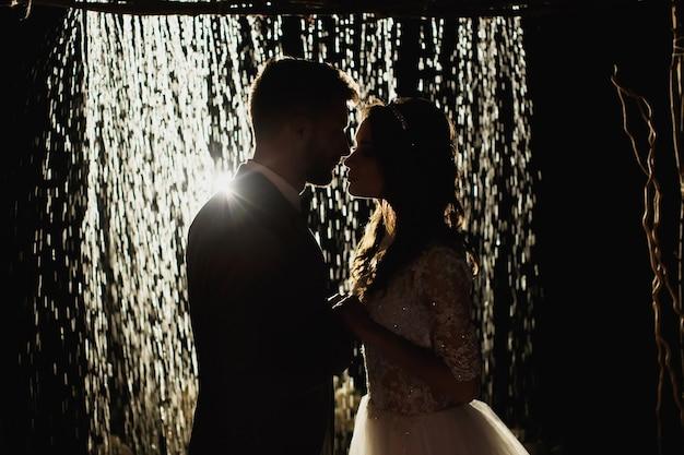 ロマンチックな愛情のあるカップルの新婚夫婦、夜空と雨を背景に結婚式。新郎新婦は雨でアーチの背景に立っています。