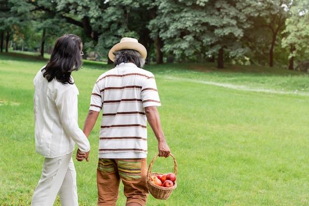 Романтичная зрелая азиатка пар с счастьем образа жизни корзины плодоовощ в парке.