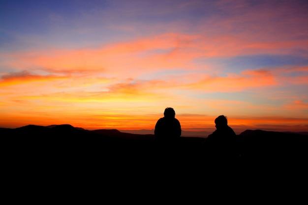 Romantic moment sunset in pha taem national park ubon ratchathani thailand