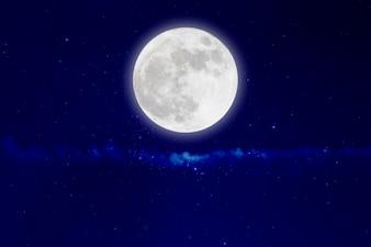 Romantic Moon In Starry Night.