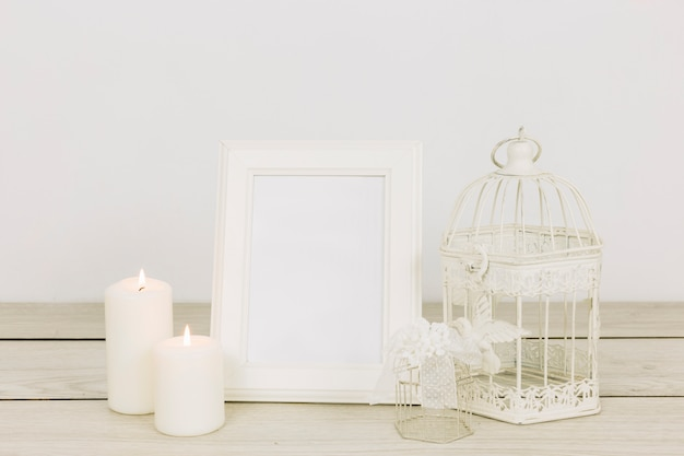 Romantic ornaments with frame