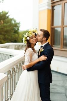 Romantic photo of wedding couple